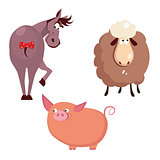 Donkey, Pig and Sheep. Farm Animals Vector