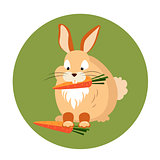 Cute Rabbit Eating a Carrot Vector