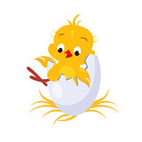 Cartoon Chicken in an Egg. Vector Illustration