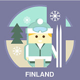 Finn with Ski Vector Illustration