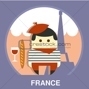 France Resident on Traditional Background Vector Illustration
