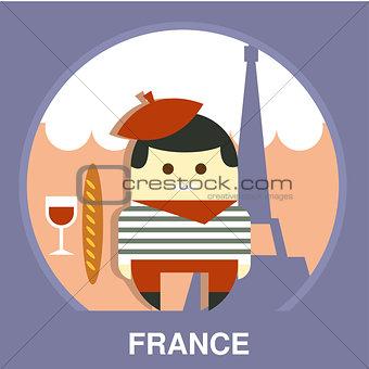 France Resident on Traditional Background Vector Illustration