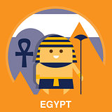 Egyptian in Traditional Clothes Vector Illustration