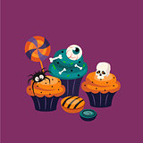 Halloween Sweets and Decorated Cupcakes
