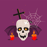 Halloween Skull and Calndles Vector Illustration
