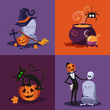 Cauldron, Pumpkin, Tomb and Cat Halloween Illustration Set