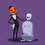Jack o Lantern Near the Grave Halloween Illustration