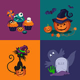 Pumpkin, Sweets and Cat Halloween Vector Illustrations Set
