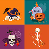 Halloween Skull and Pumpkin Vector Illustration Set