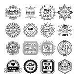 Handmade Emblems in Linear Style Vector Illustration Set