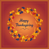 Autumn Thanksgiving Banner with Leaves and Black Berries