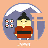 Japanese Man Vector Illustration