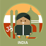 India Resident on National Background Vector Illustration