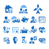Insurance Icons in Handdrawn Style. Vector Illustration Set