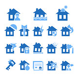 Property and House Insurance Icon Set. Vector illustration. Flat Design