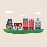 Old Vintage Houses Vector Illustration
