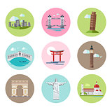 National Landmarks Vector Illustration Set in Flat Style