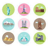 National Sights and Landmarks Vector Illustration Set in Flat Style