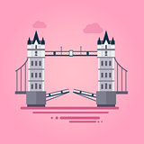 London Tower Bridge in Flat Style Vector Illustration