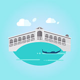 Venice Bridge and Boat in Flat Style Vector Illustration