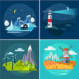 Mountains and Water Landscape Illustrations Set