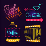 Neon Signs of Cafe, Hotel and Cocktail. Isolated Vector Illustration