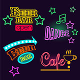 Neon Signs of Cafe, Beer and Bar. Isolated Vector Illustration