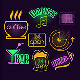 Neon Signs of Cafe, Hotel and Bar. Isolated Vector Illustration