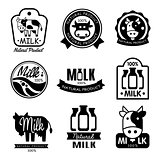 Milk and Dairy Monochrome Labels. Vector Illustration Set in Flat Style