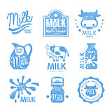 Milk and Dairy Labels. Vector Illustration