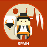 Spanish Traditional Man Vector Illustration