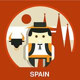 Spanish Traditional Man Vector Illustration