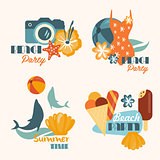Set of Beach Party and Summer Time Vacation Vector Illustrations in Flat Style