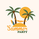 Tropical Holiday Island with Palm Trees, Flat Vector Illustration