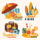 Set Travel and Vacation Vector Illustrations in Flat Style