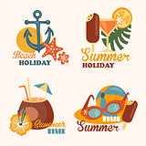 Set of Beach Holiday and Summer Elements Vector Illustrations in Flat Style