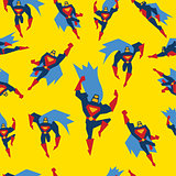 Superman Seamless Pattern Vector Illustration