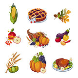 Thanksgiving Elements. Vector Illustration Set