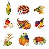 Thanksgiving Elements. Vector Illustration Set
