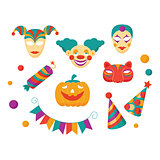 Carnival Flat Icons and Clements Vector Illustration Set