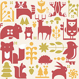 Autumn Animals and Plants in Flat Style Seamless Pattern