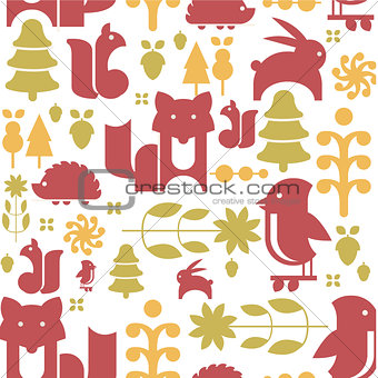 Autumn Plants and Animals in Flat Style Seamless Pattern
