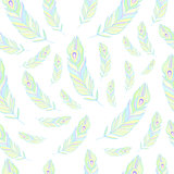 Peacock Feathers Seamless Pattern Vector Illustration.