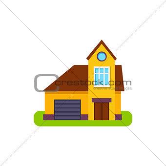One Window Suburban House Exterior Design With Garage