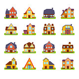 Suburban Real Estate Houses Exteriors Set