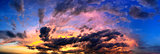Dramatic sunset like fire in the sky with golden clouds collage