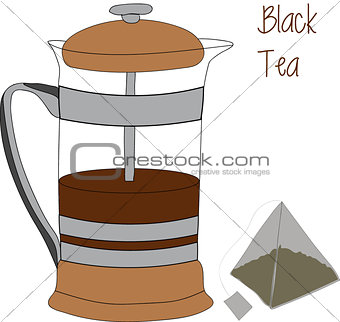 French press and tea bag vector illustration, 2d, iconic appearance.