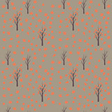 Seamless pattern with autumn leafs and trees.