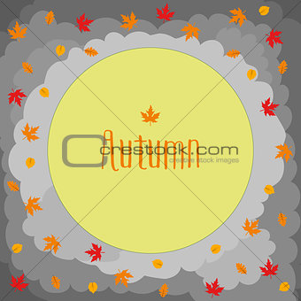 Autumn round with cute leaves, mushrooms, pumpkin and other autumnal design elements.