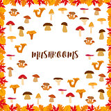 Mushrooms, autumn pattern, frame made of leaves. Vector illustration.